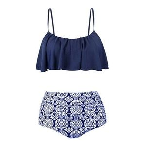 NWOT / NAVY/ PRINT RUFFLE  TWO PIECE SWIMSUIT